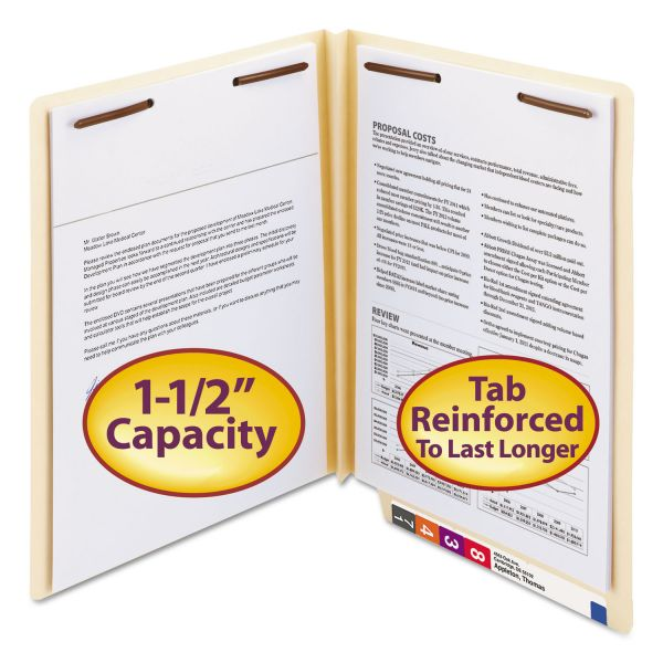 Smead W-Fold Manila Expansion Folders, Two Fasteners, End Tab, Letter, Manila, 50/Box