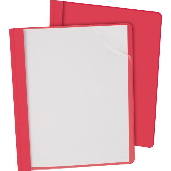 """Oxford Clear Front Report Cover, 3 Fasteners, Letter, 1/2"""" Capacity, Red, 25/Box"""