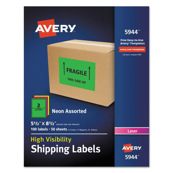 Avery Neon Shipping Label, Laser, 5 1/2 x 8 1/2, Neon Assorted, 100/Box