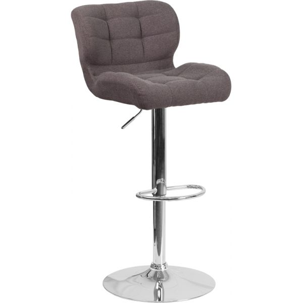Flash Furniture Contemporary Tufted Dark Gray Fabric Adjustable Height Barstool with Chrome Base