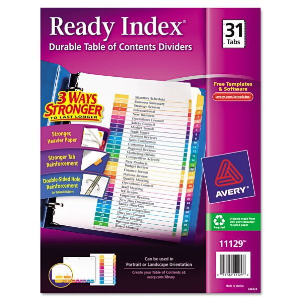 Avery Ready Index Customizable Table of Contents Multicolor Dividers, 31-Tab, Letter