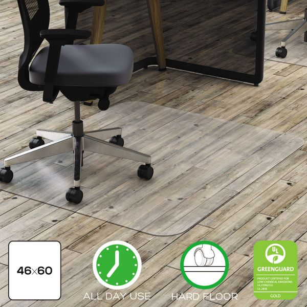 deflecto Clear Polycarbonate All Day Use Chair Mat for Hard Floor, 46 x 60