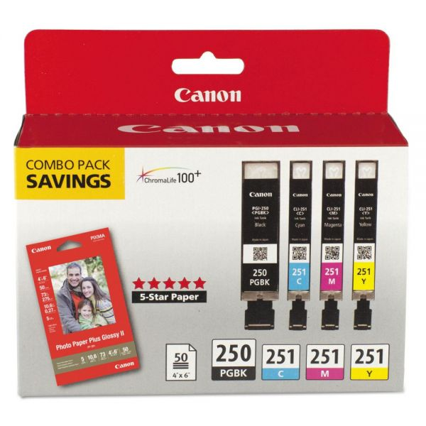 Canon PGI-250 Black/CLI-251 Color Ink Cartridges & Photo Paper Pack (6497B004)