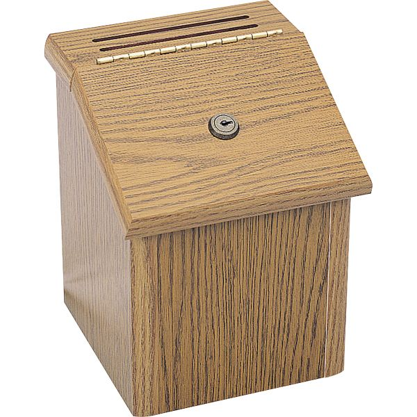 Safco Wood Suggestion Box, Latch Lid Key Lock, 7 3/4 x 7 1/2 x 9 3/4, Oak