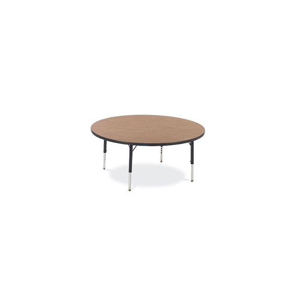 Virco Primary Collection Height Adjustable Round Activity Table with Cucumber Banding