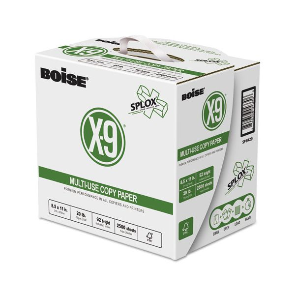 Boise X-9 SPLOX Multi-Use Paper, 92 Bright, 20lb, 8.5x11, White, 200000 Sheets/Pallet