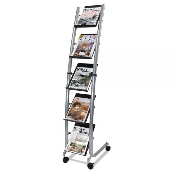 Alba Mobile Literature Display, 13 3/8w x 20 1/8d x 65 3/8h, Silver Gray/Black