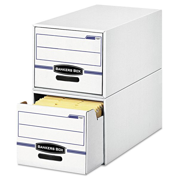 Bankers Box STOR/DRAWER File Drawer Storage Box, Letter, White/Blue, 6/Carton