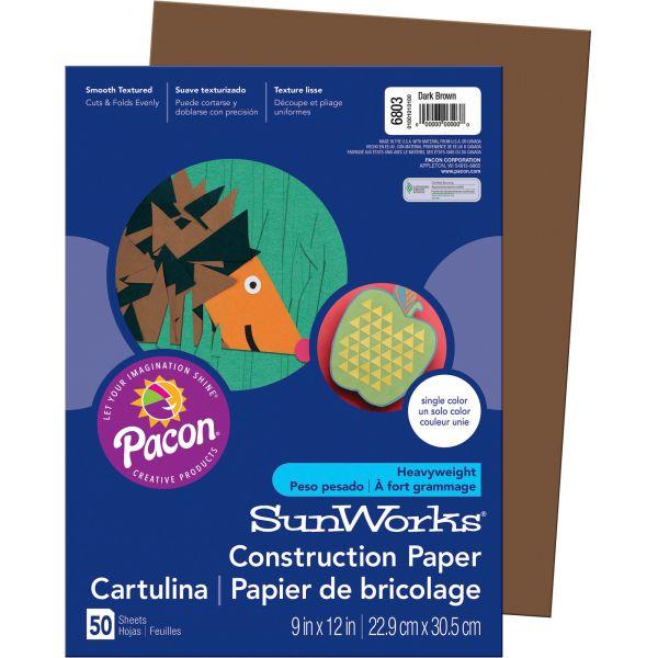 SunWorks Groundwood Brown Construction Paper
