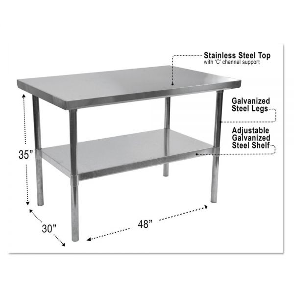 Alera Stainless Steel Table, 48 x 30 x 35, Silver