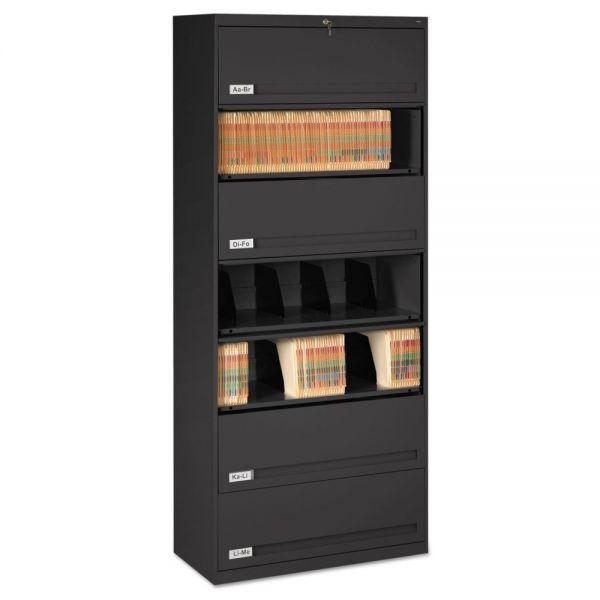 Tennsco Closed Fixed Shelf Lateral File, 36w x 16 1/2d x 87h, Black