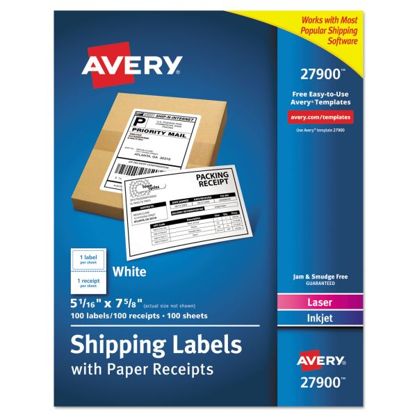 Avery Paper Receipt Shipping Labels