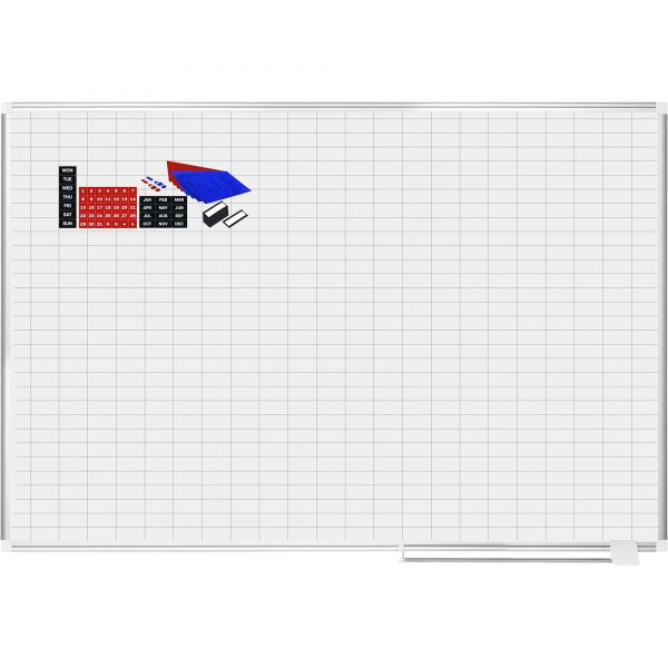 MasterVision Grid Planning Board w/ Accessories, 1 x 2 Grid, 72 x 48, White/Silver