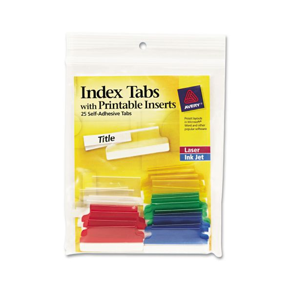 Avery Self-Adhesive Index Tabs With Printable Inserts