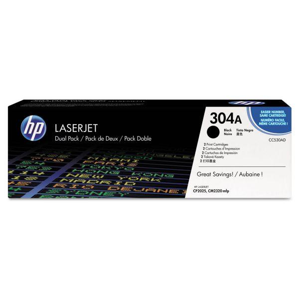 HP 304A, (CC530A-D) 2-pack Black Original LaserJet Toner Cartridges