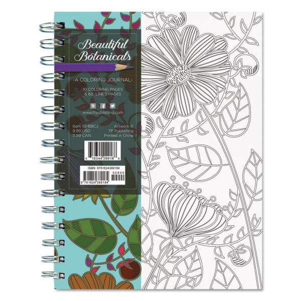 TF Publishing Beautiful Botanicals Coloring Journal, 140 Pages, 6 3/8 x 8