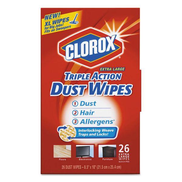 Clorox Triple Action Dust Wipes, White, 8 1/2 x 10, 26/Box, 7 Box/Carton