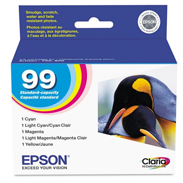 Epson T099920 (99) Claria Ink, Assorted, 5/PK