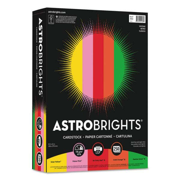Astrobrights Color Cardstock, 65lb, 8 1/2 x 11, Assorted, 250 Sheets