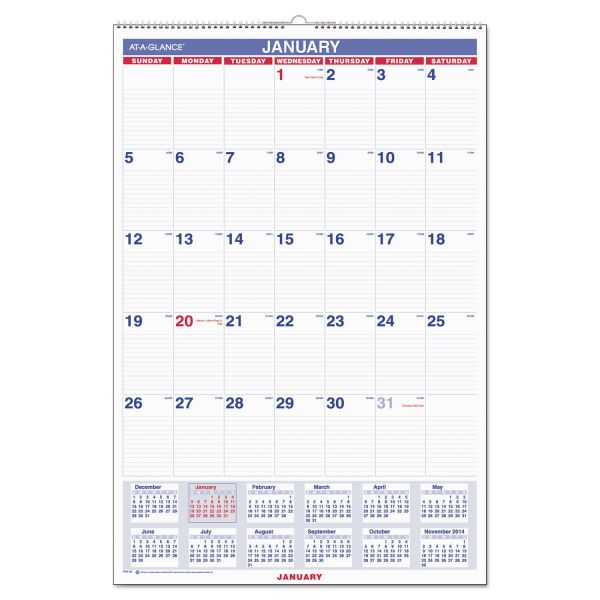 AT-A-GLANCE Monthly Wall Calendar with Ruled Daily Blocks, 20 x 30, White, 2019