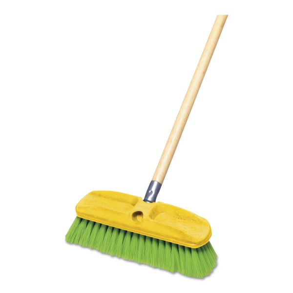 "Rubbermaid Commercial Synthetic-Fill Wash Brush, 10"" Yellow Plastic Block"