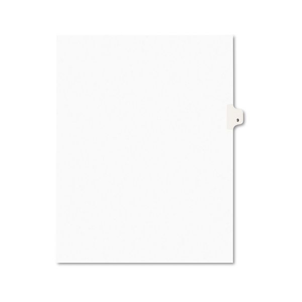 Avery-Style Legal Exhibit Side Tab Divider, Title: 9, Letter, White, 25/Pack