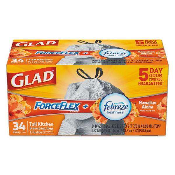 Glad ForceFlex OdorShield Bags, Hawaiian Aloha, 13gal, White, 34/Box, 6 Boxes/Carton