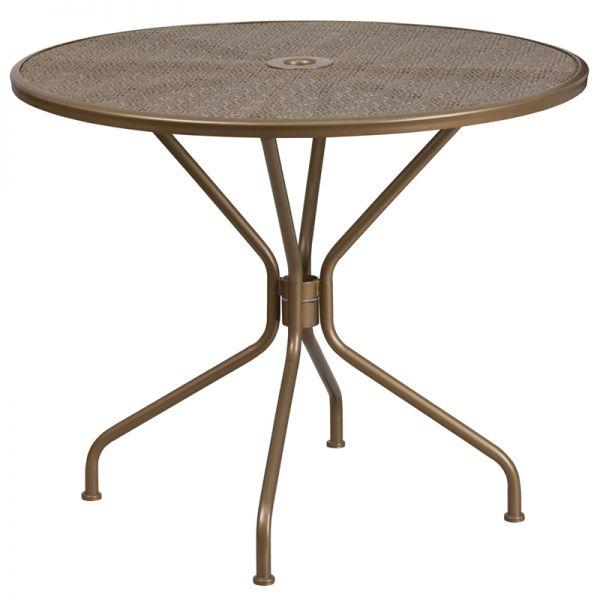 Flash Furniture 35.25'' Round Gold Indoor-Outdoor Steel Patio Table