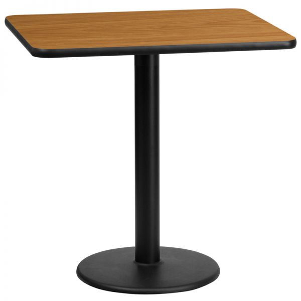 Flash Furniture 24'' x 30'' Rectangular Natural Laminate Table Top with 18'' Round Table Height Base