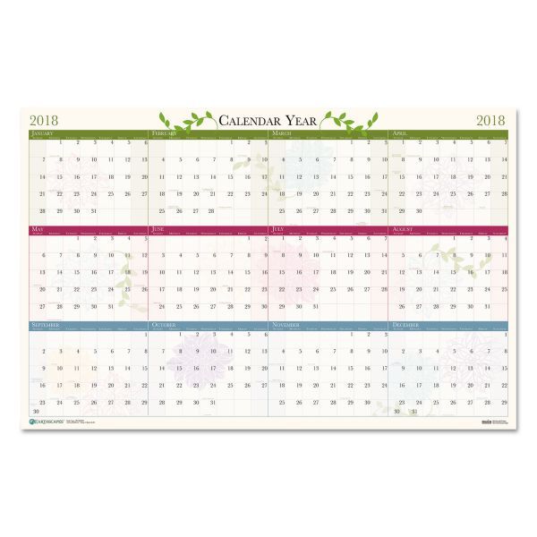 House of Doolittle Floral Reversible Laminated Yearly Wall Calendar