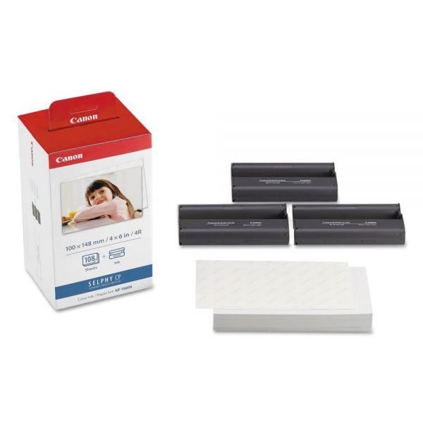 Canon KP-108IN Color Ink Ribbon With Glossy 4 x 6 Photo Paper Pack, 108 Sheets