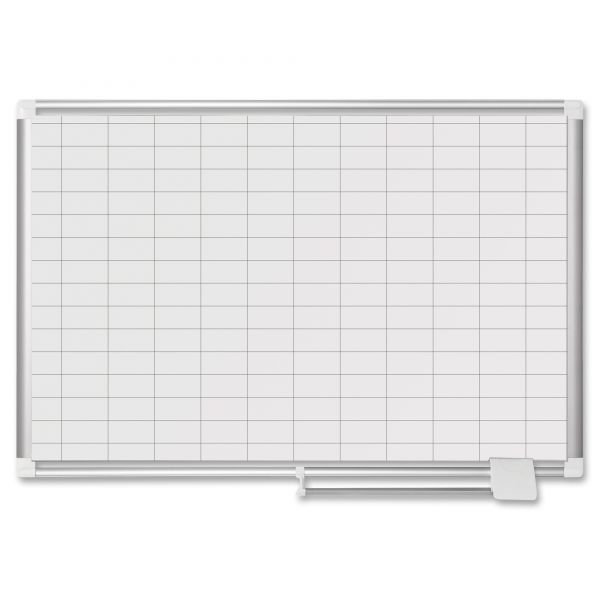 "MasterVision MasterVision Grid Platinum Plus Dry Erase Board, 1x2"" Grid, 24x36, Silver"