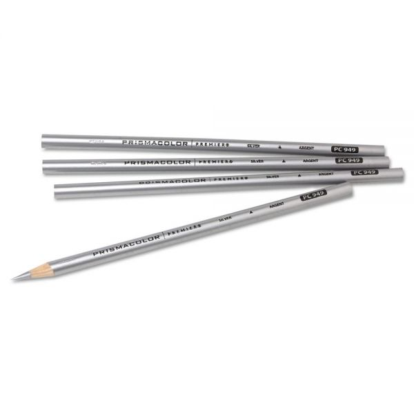 Prismacolor Thick Lead Art Pencil, Silver Lead/Barrel, Dozen