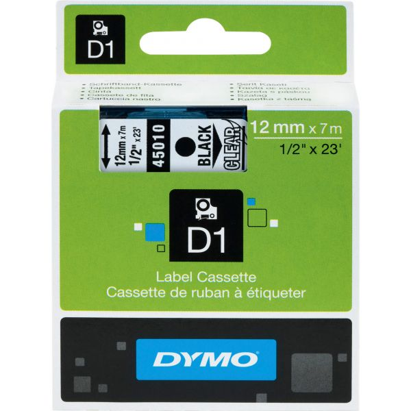 """DYMO D1 High-Performance Polyester Removable Label Tape, 1/2"""" x 23 ft, Black on Clear"""