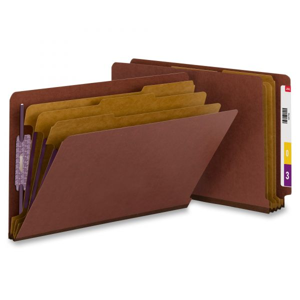 Smead End Tab Red Pressboard Classification Folders with SafeSHIELD Fasteners
