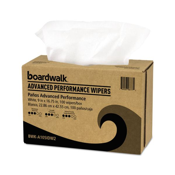 Boardwalk Advanced Performance Wipers, White, 9x16 3/4, 10 Pack Dispensers of 100, 1000/Ct