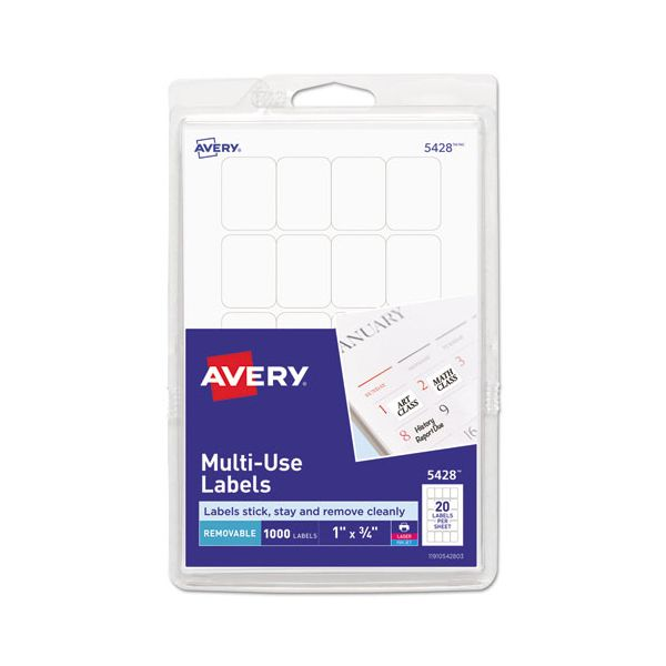 Avery Removable Multi-Use Labels, 1 x 3/4, White, 1000/Pack