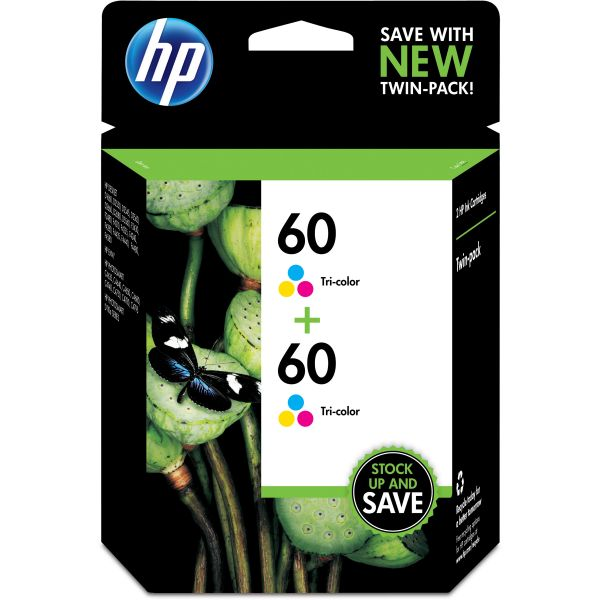 HP 60 Twin Pack Tri-Color Ink Cartridges (CZ072FN)