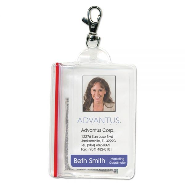 Advantus Sealable Vertical Badge Holders with Lobster Claws