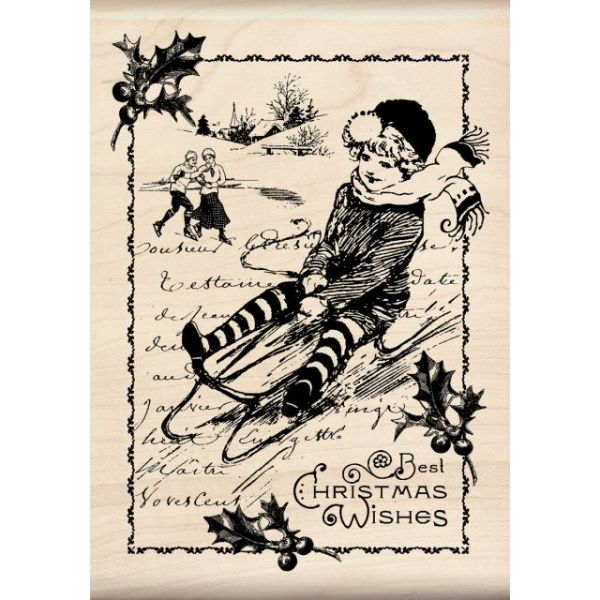 "Inkadinkado Christmas Mounted Rubber Stamp 3.5""X5"""
