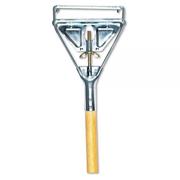 UNISAN Quick Change Metal Head Wooden Mop Handle