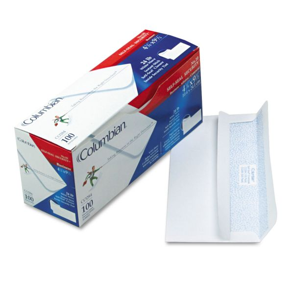 Columbian Self-Seal Business Envelopes w/Security Tint, #10, 4 1/8 x 9 1/2, White, 100/Box