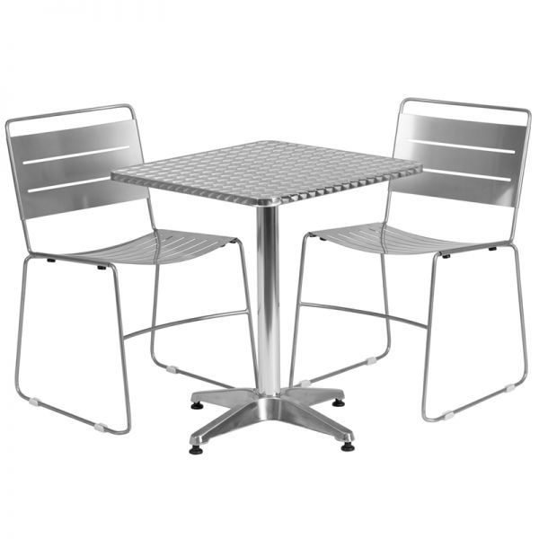 Flash Furniture 23.5'' Square Aluminum Indoor-Outdoor Table with 2 Silver Metal Stack Chairs