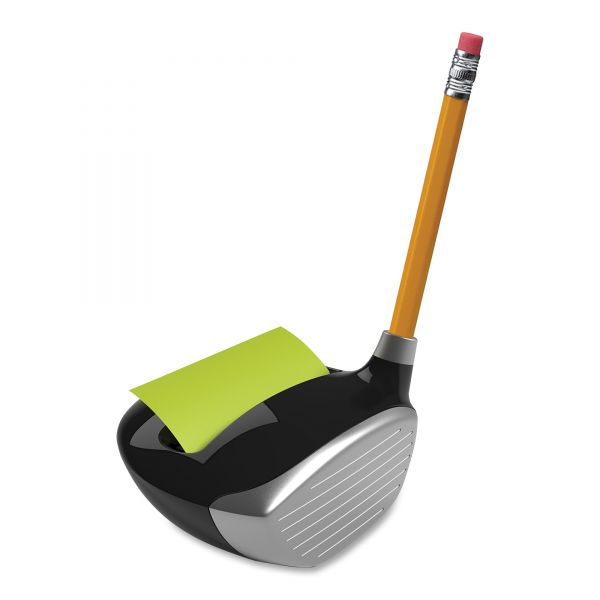 Post-it Pop-up Notes Super Sticky Pop-Up Notes Golf Dispenser, 3 x 3, Golf Driver, Black/Silver
