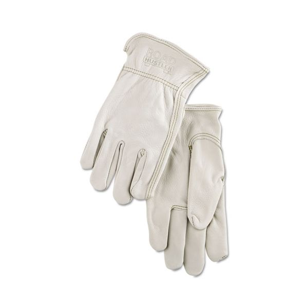 MCR Safety Full Leather Cow Grain Driver Gloves, Tan, X-Large, 12 Pairs