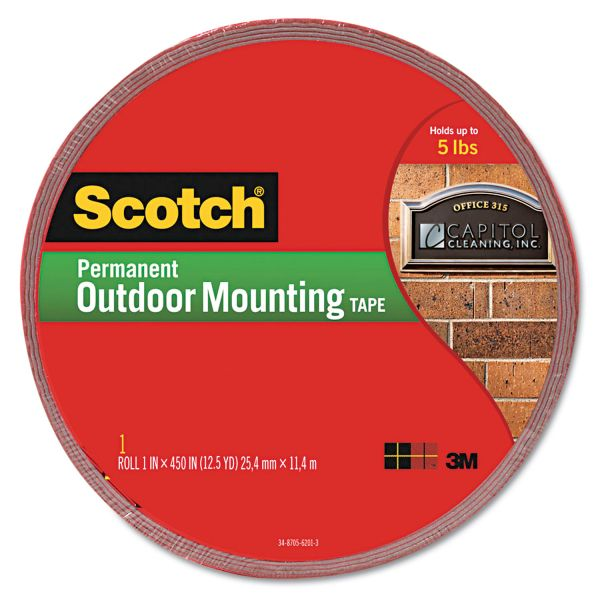 Scotch Exterior Weather-Resistant Double-Sided Tape, 1 x 450, Gray with Red Liner