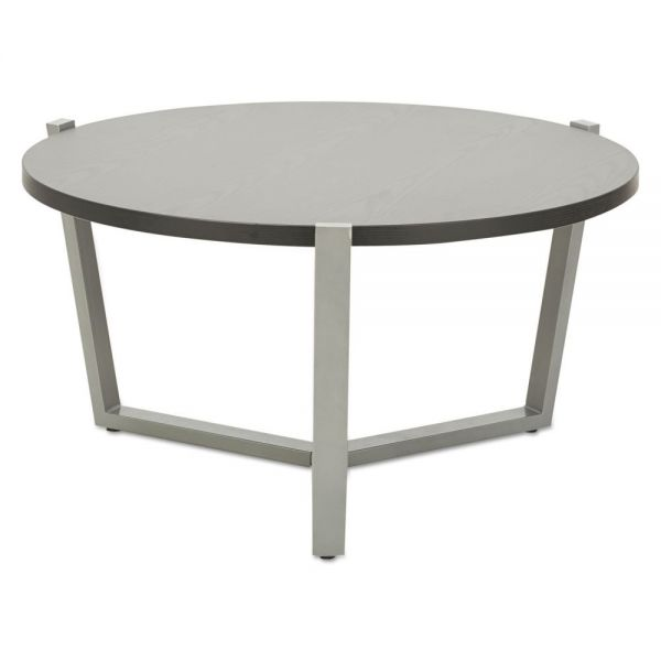 Alera Round Occasional Coffee Table, 29 3/8 dia x 15 1/2h, Black/Silver