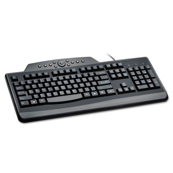 Kensington Pro Fit Wired Media Keyboard, Full Size, Black