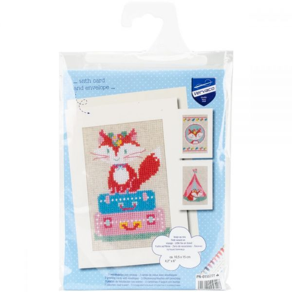 Little Fox Greeting Cards On Aida Counted Cross Stitch Kit