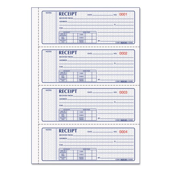 Rediform Money Receipt Book, 7 x 2 3/4, Carbonless Triplicate, 100 Sets/Book